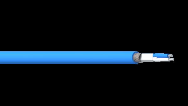 1 Pair 18AWG Overall Foil + Braid FRPO/PVC 600V Industrial Twinax - Blue Sheath