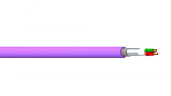 1 Pair 22AWG Overall Foil + Braid PE/PVC Profibus DP - Violet Sheath