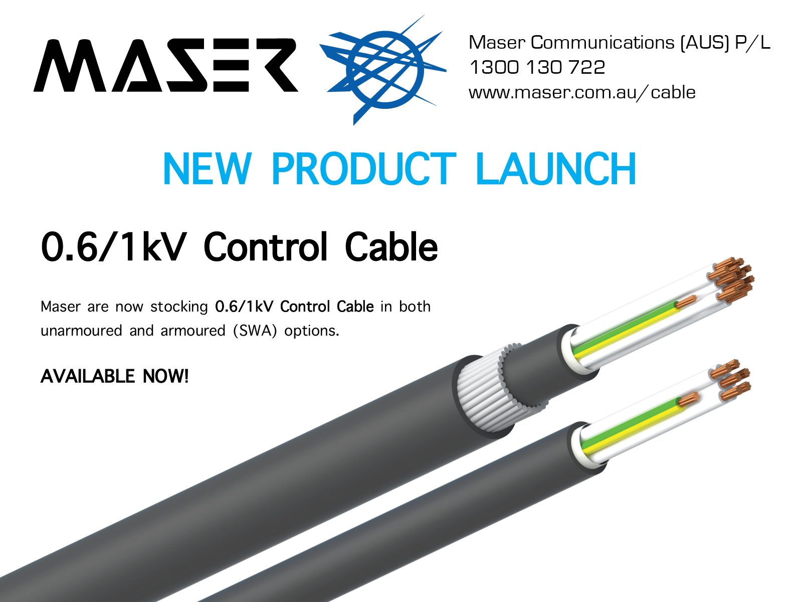 Maser now stocking 0.6/1kV Control Cable in both unarmoured and armoured (SWA) options