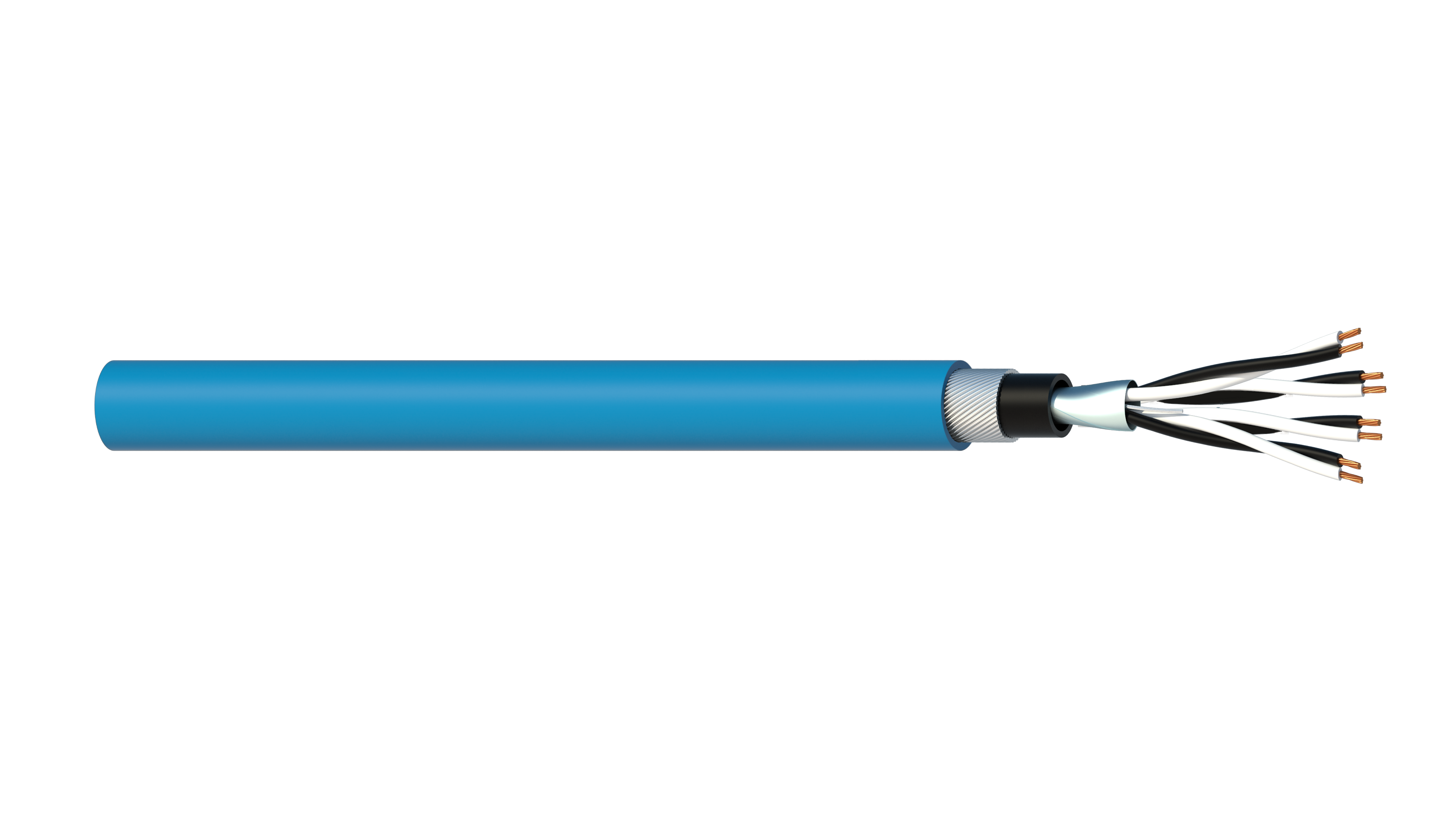 2 Pair 0.5mm2 Cu/PVC/OS/PVC/SWA/PVC Maser Instrumentation Cable - Blue Sheath