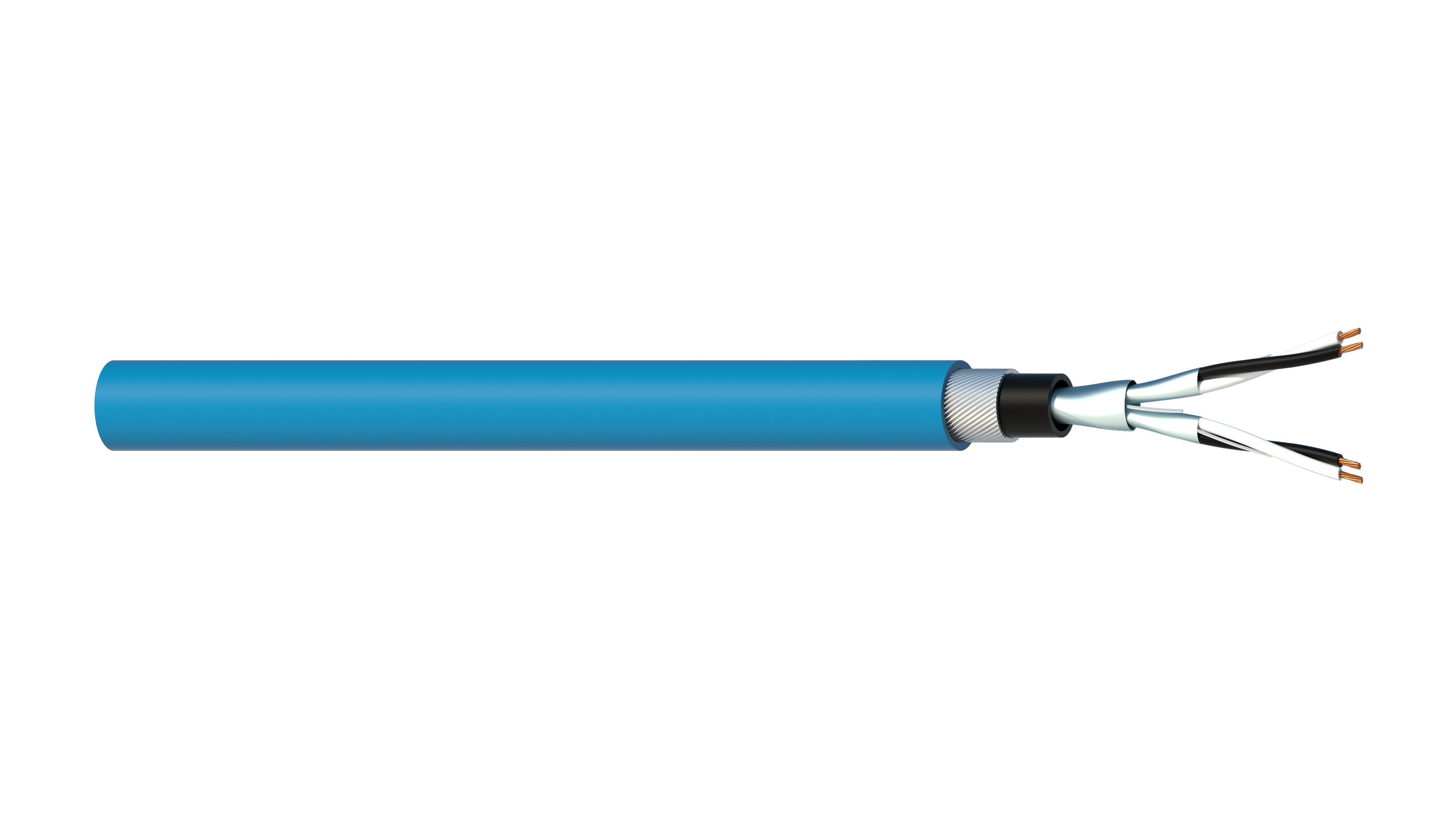 2 Pair 0.5mm2 Cu/PVC/ISOS/PVC/SWA/PVC Maser Instrumentation Cable - Blue Sheath