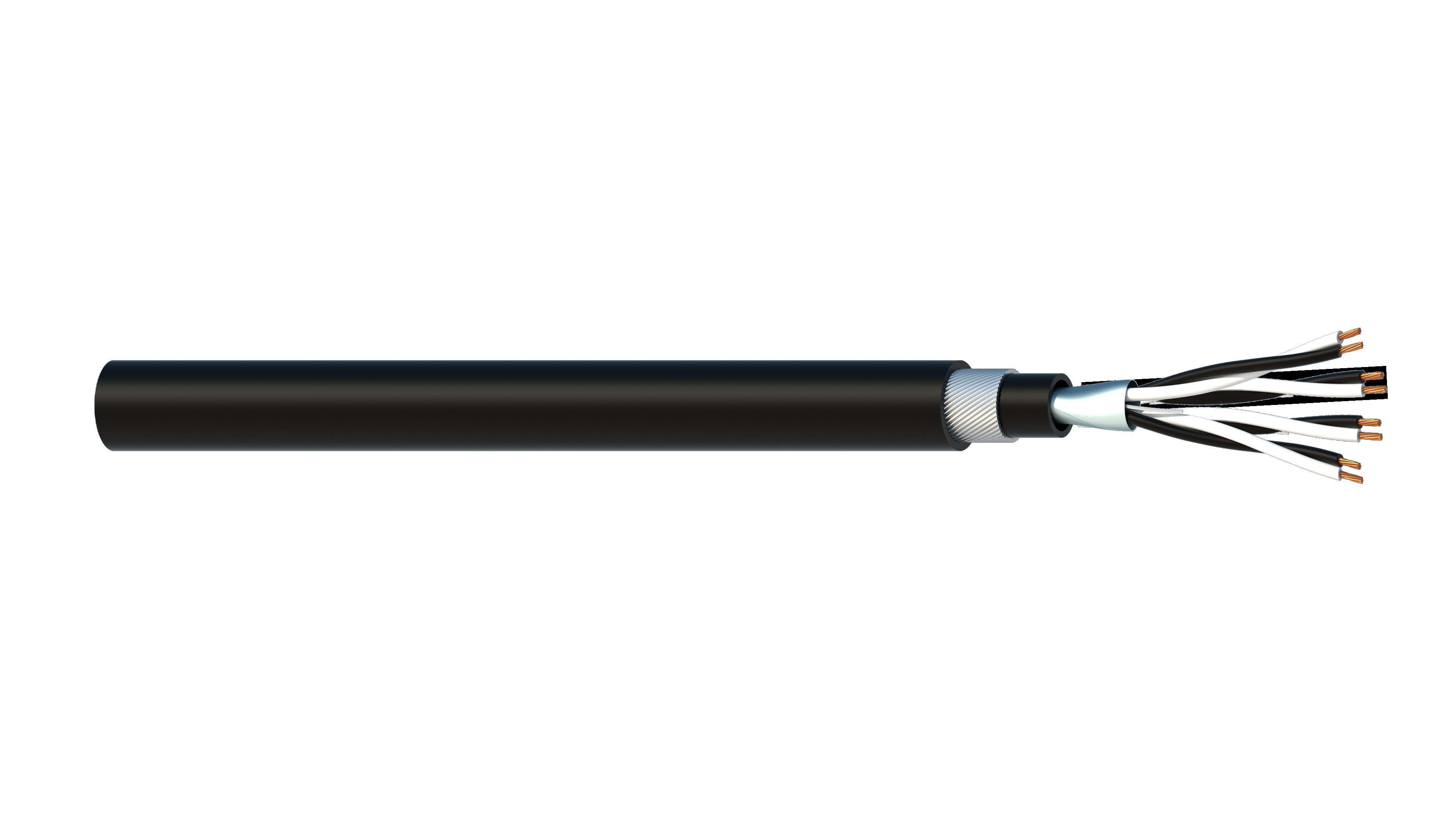 4 Pair 0.5mm2 Cu/PVC/OS/PVC/SWA/PVC Maser Instrumentation Cable - Black Sheath
