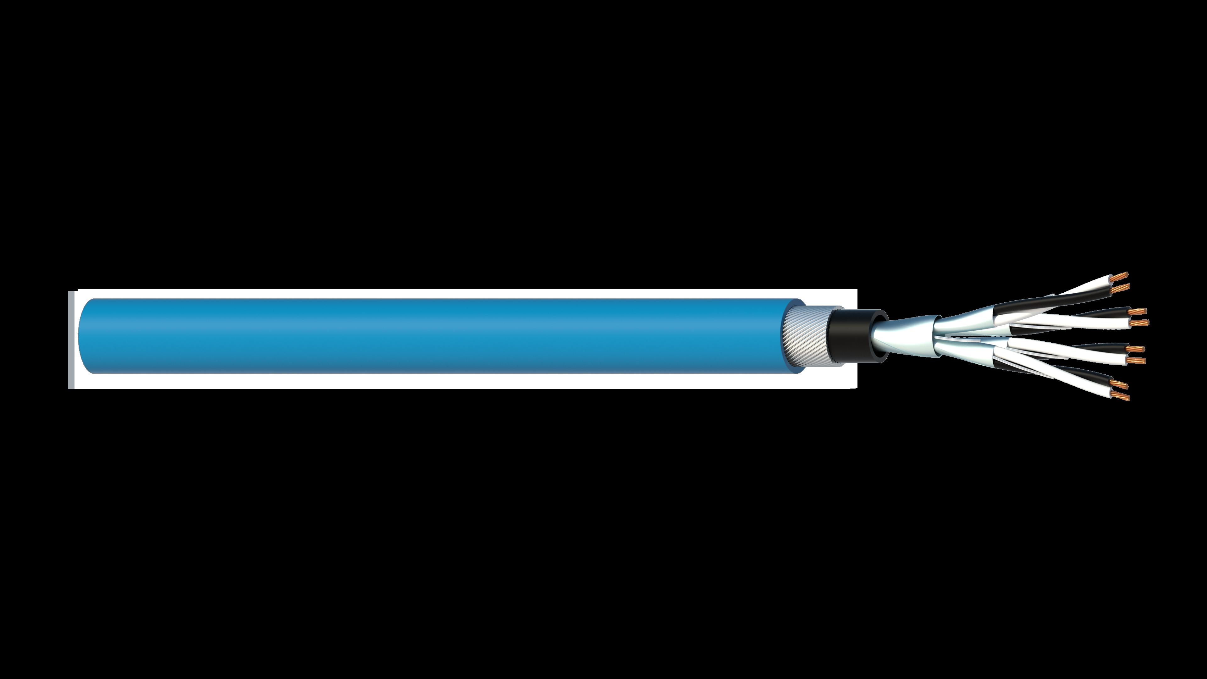4 Pair 0.5mm2 Cu/PVC/ISOS/PVC/SWA/PVC Maser Instrumentation Cable - Blue Sheath