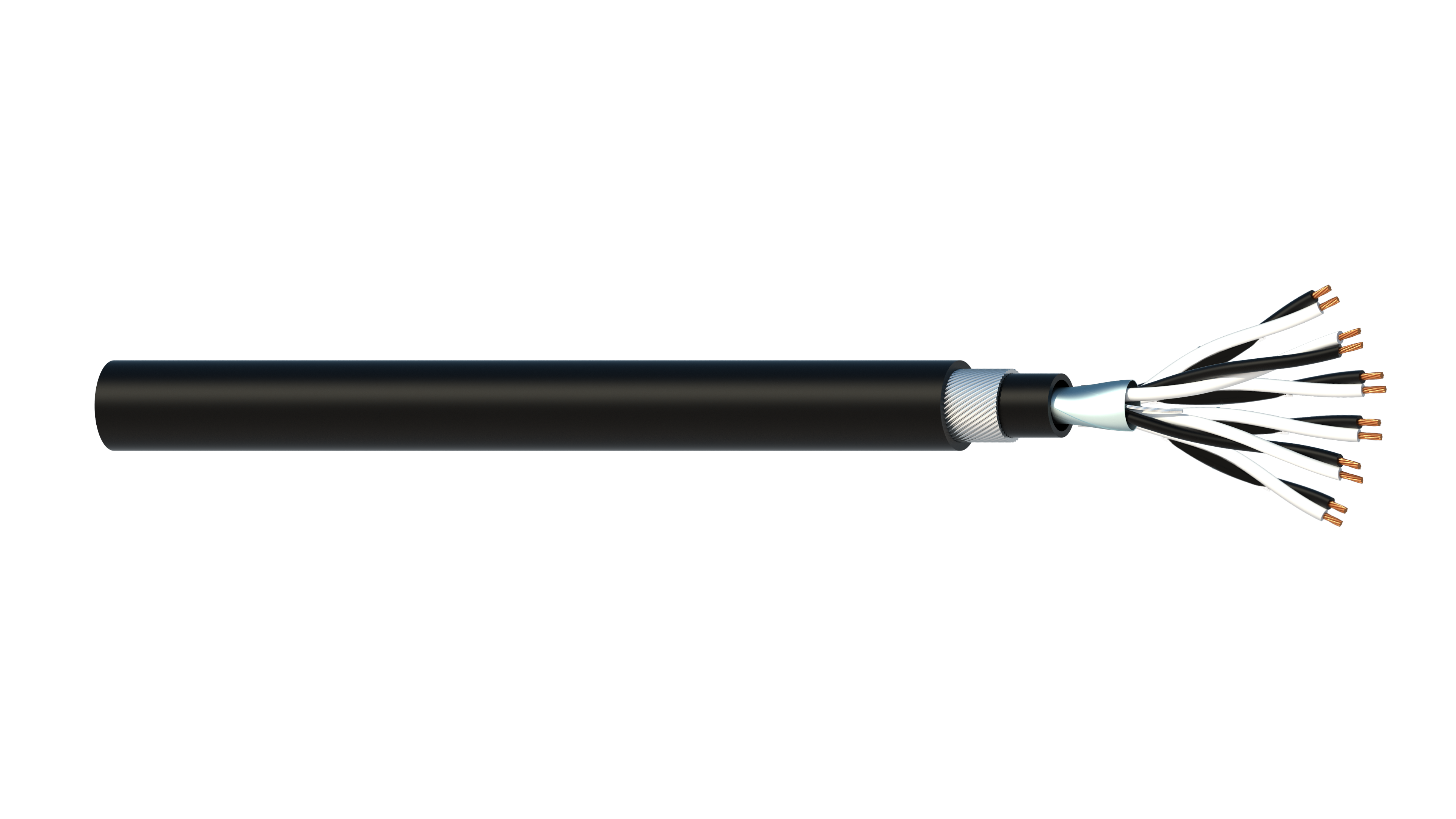 6 Pair 0.5mm2 Cu/PVC/OS/PVC/SWA/PVC Maser Instrumentation Cable - Black Sheath