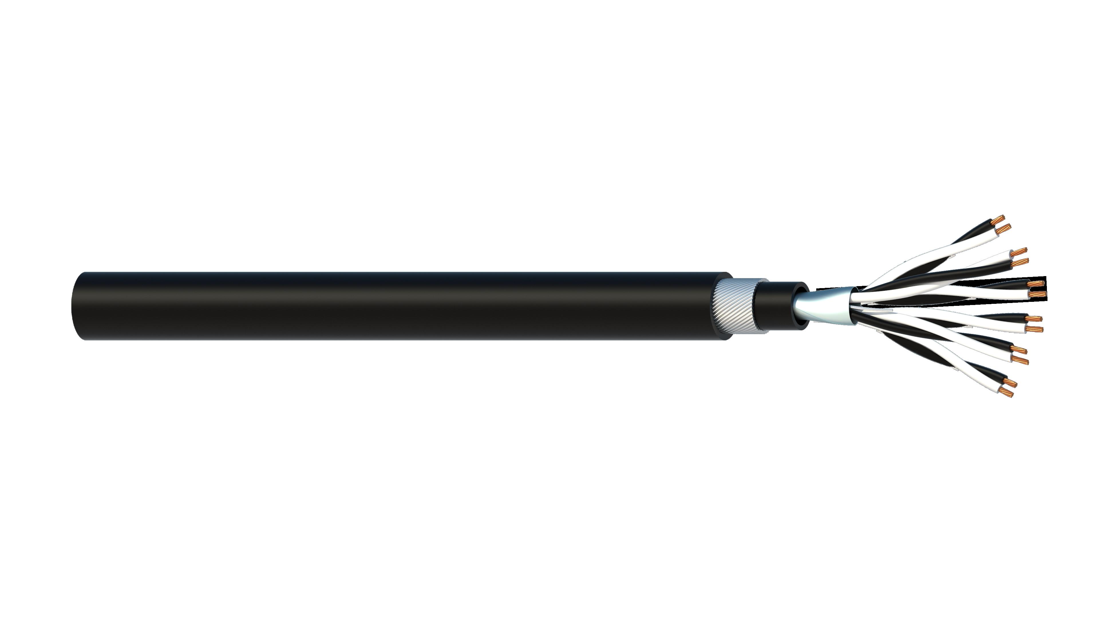 6 Pair 1.5mm2 Cu/PVC/OS/PVC/SWA/PVC Maser Instrumentation Cable - Black Sheath