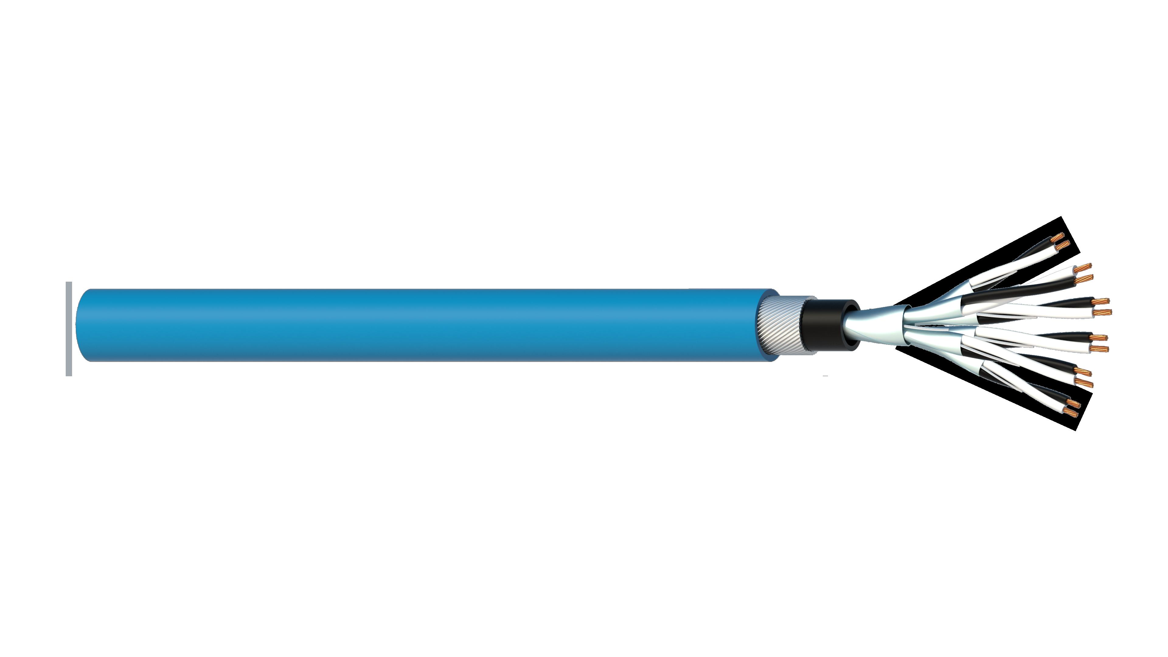 6 Pair 0.5mm2 Cu/PVC/ISOS/PVC/SWA/PVC Maser Instrumentation Cable - Blue Sheath