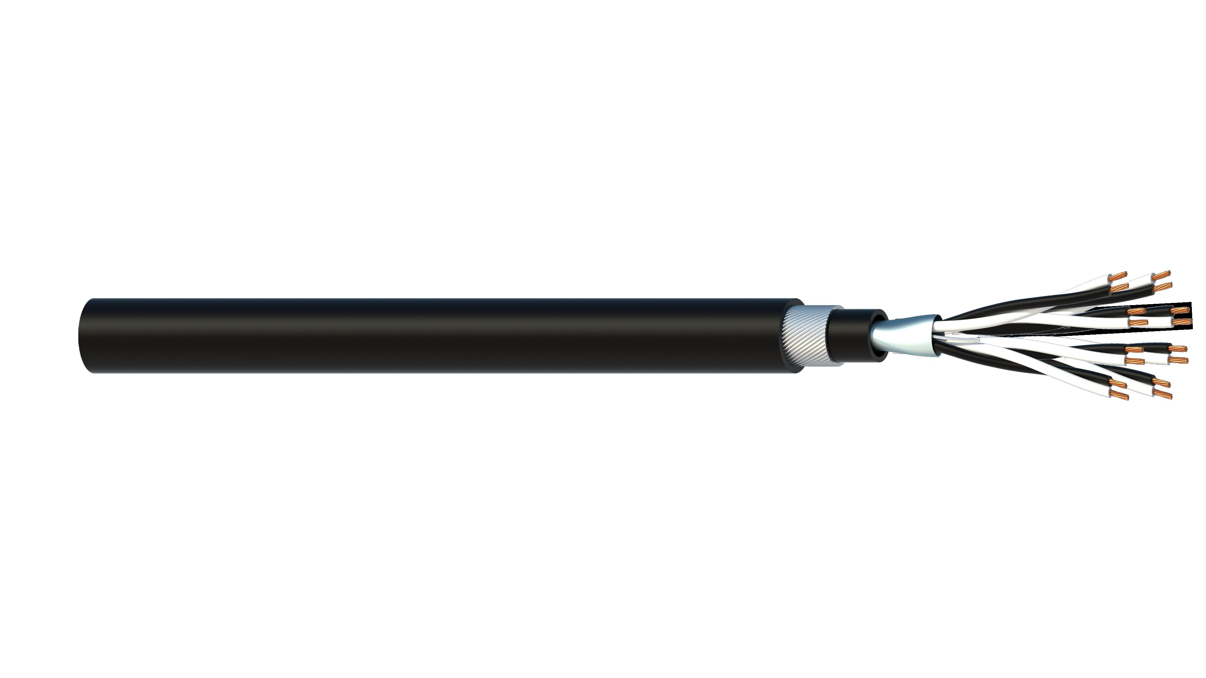 8 Pair 0.5mm2 Cu/PVC/OS/PVC/SWA/PVC Maser Instrumentation Cable - Black Sheath