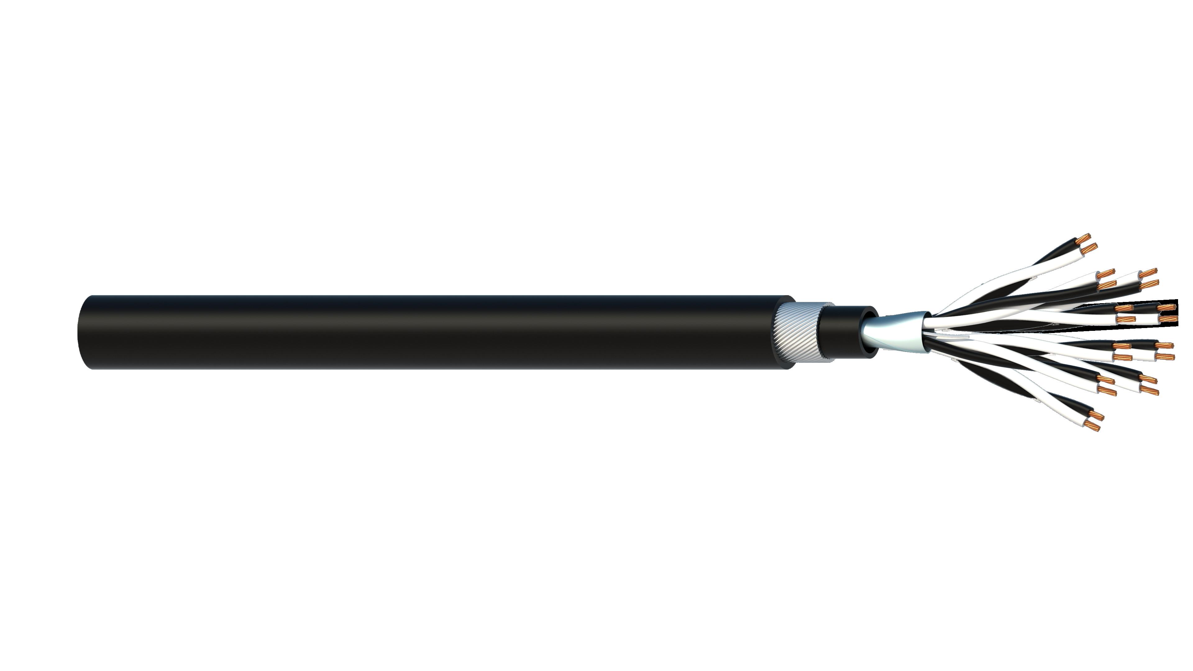 10 Pair 0.5mm2 Cu/PVC/OS/PVC/SWA/PVC Maser Instrumentation Cable - Black Sheath