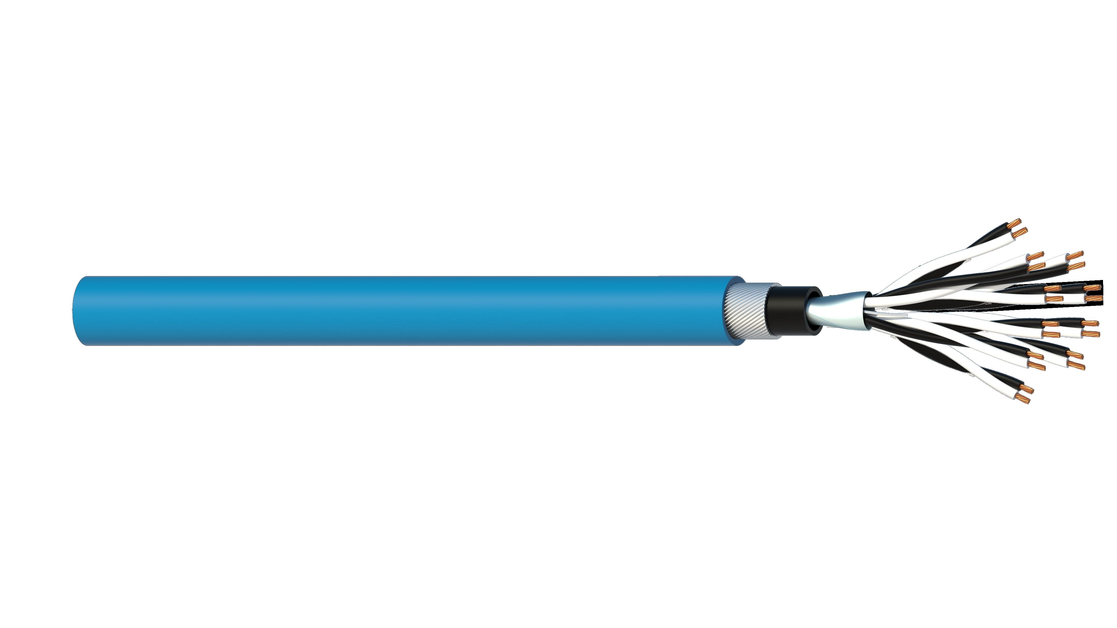 10 Pair 0.5mm2 Cu/PVC/OS/PVC/SWA/PVC Maser Instrumentation Cable - Blue Sheath