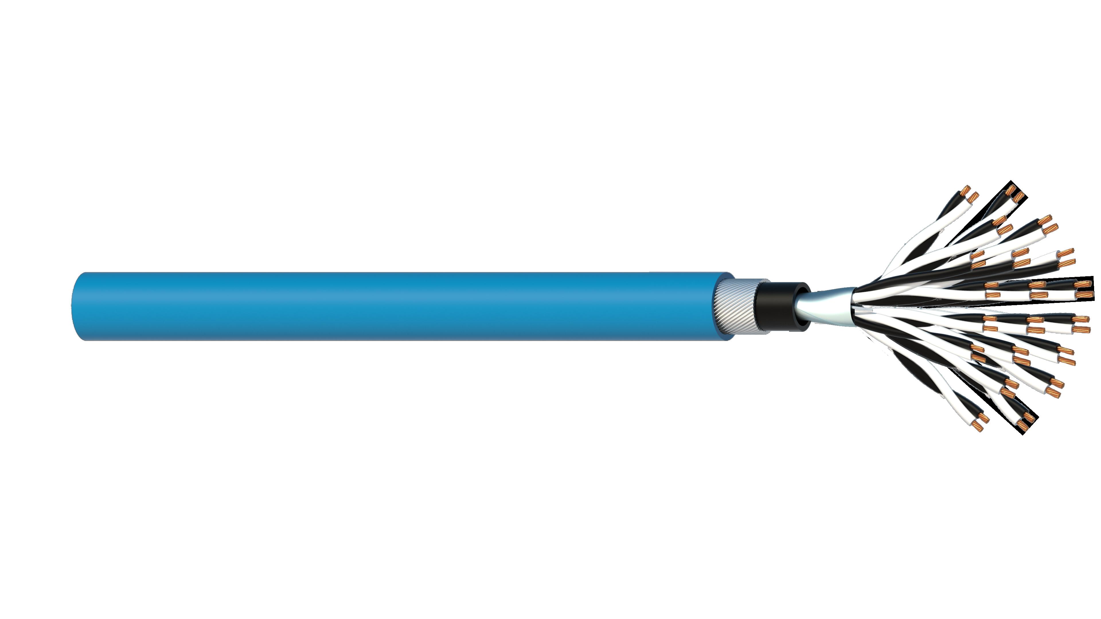 20 Pair 0.5mm2 Cu/PVC/OS/PVC/SWA/PVC Maser Instrumentation Cable - Blue Sheath