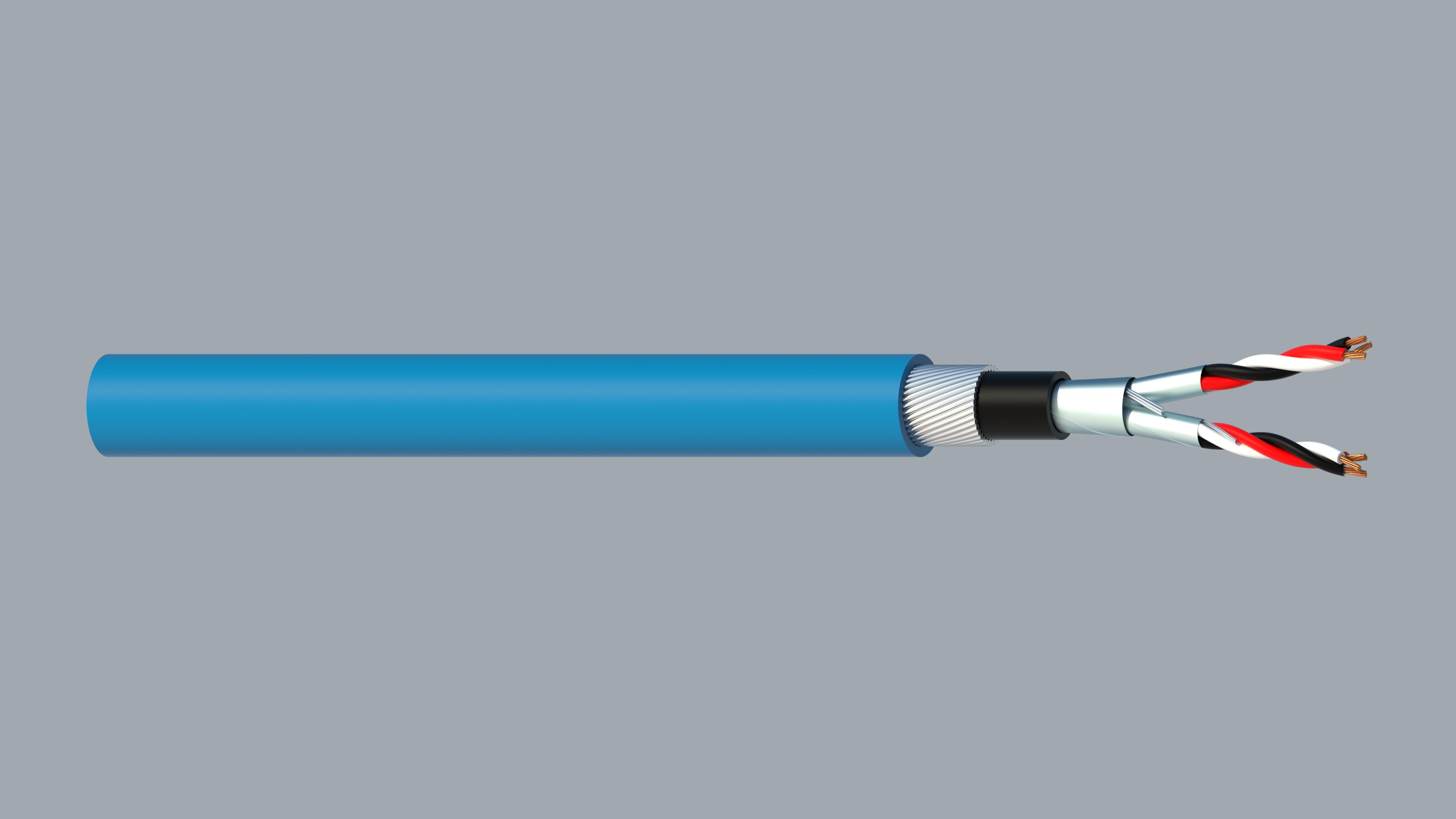 2 Triad 0.5mm2 Cu/PVC/ISOS/PVC/SWA/PVC Maser Instrumentation Cable - Blue Sheath