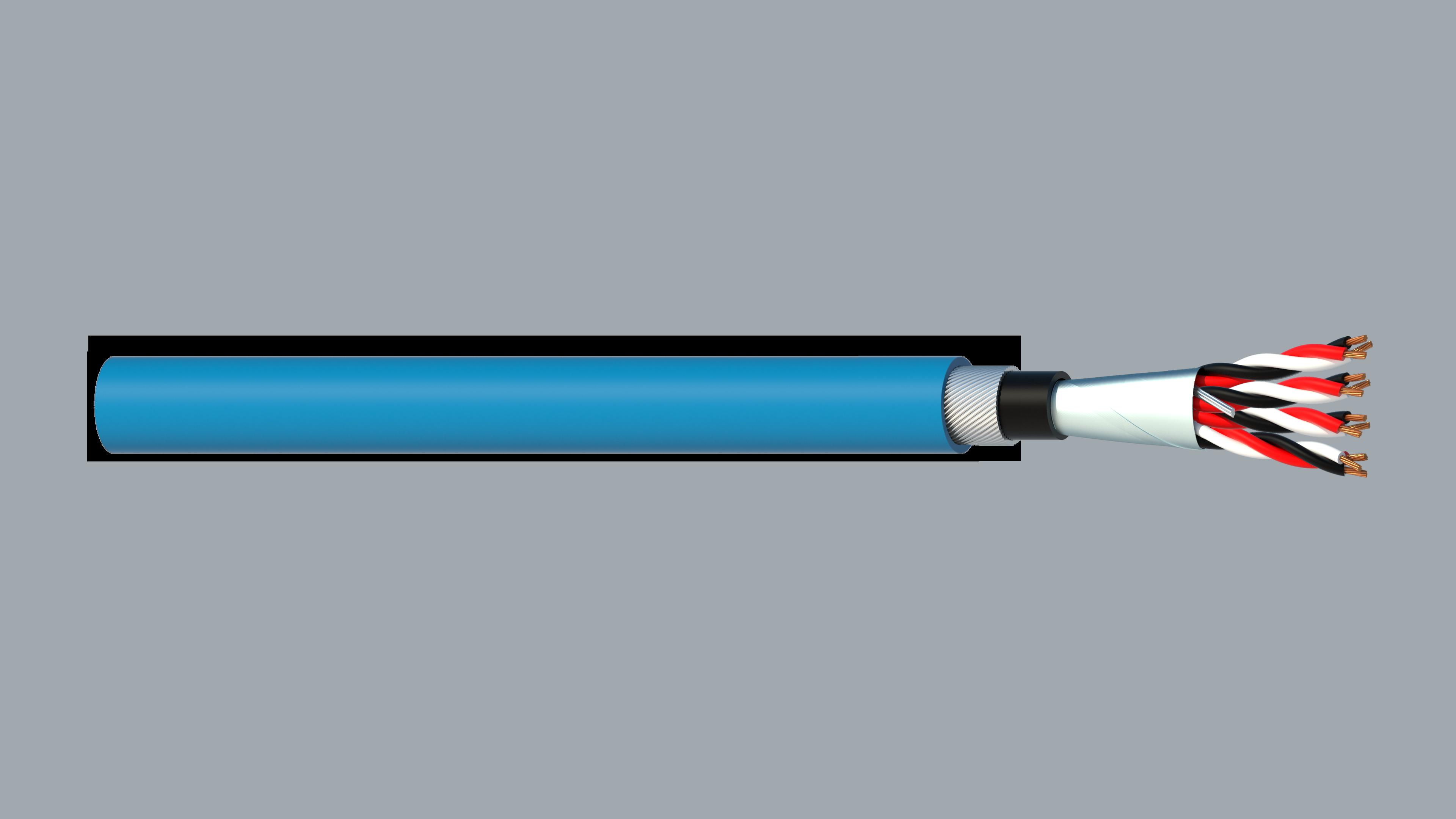 4 Triad 0.5mm2 Cu/PVC/OS/PVC/SWA/PVC Maser Instrumentation Cable - Blue Sheath