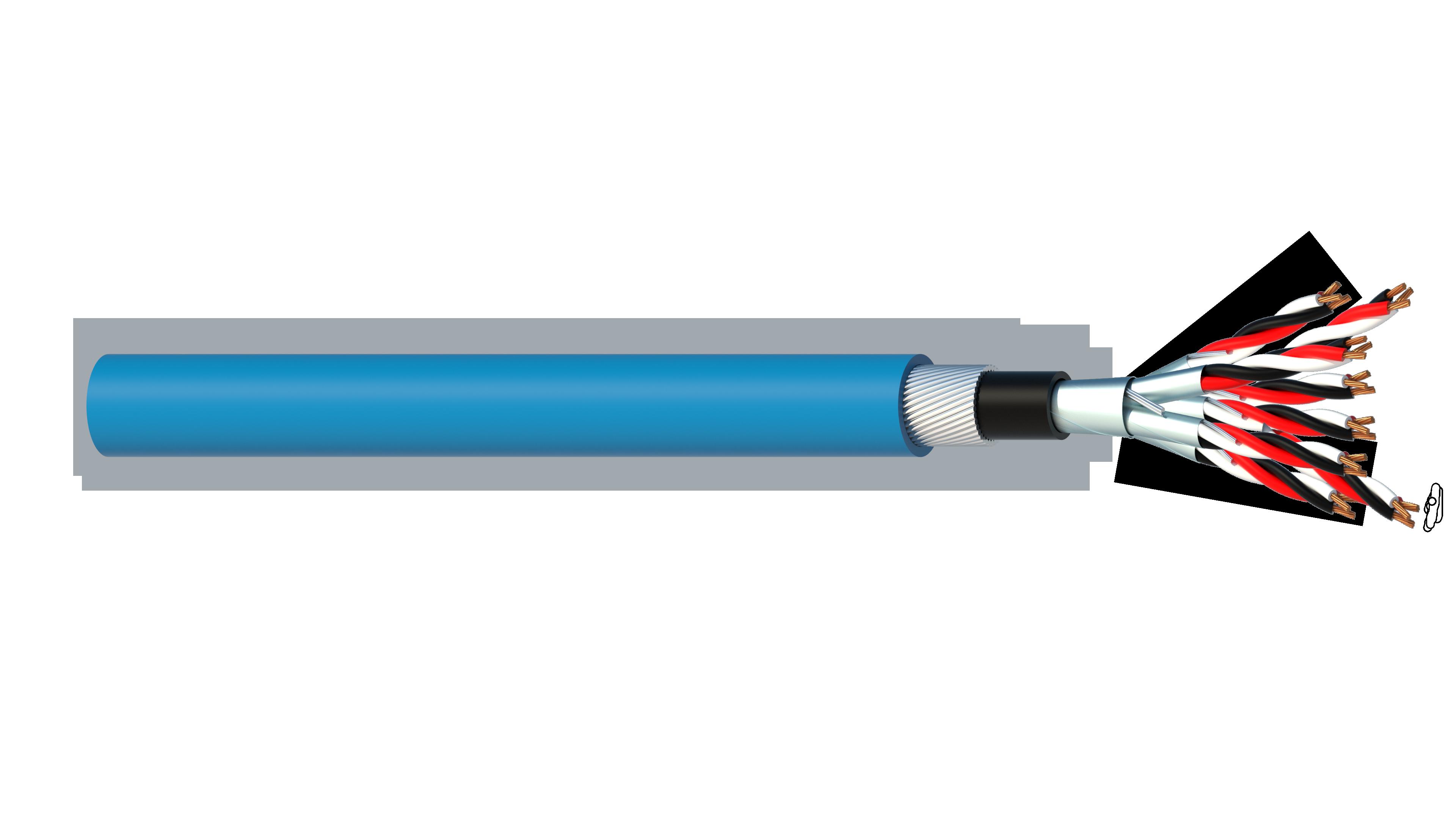 8 Triad 0.5mm2 Cu/PVC/ISOS/PVC/SWA/PVC Maser Instrumentation Cable - Blue Sheath