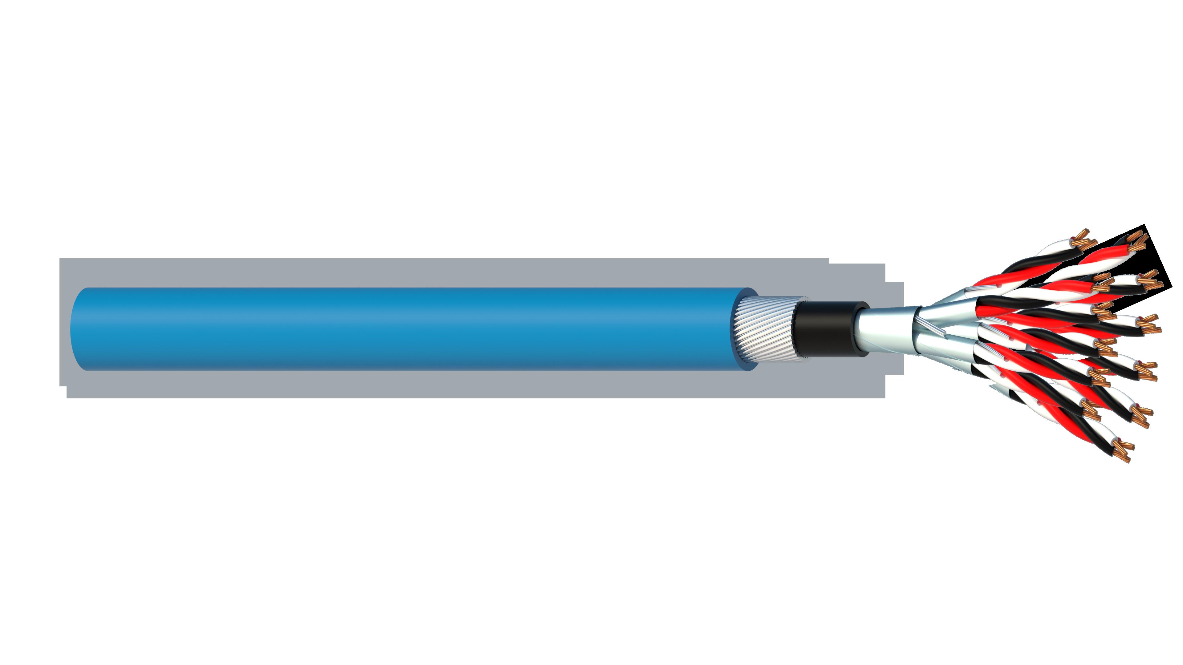 12 Triad 0.5mm2 Cu/PVC/ISOS/PVC/SWA/PVC Maser Instrumentation Cable - Blue Sheath