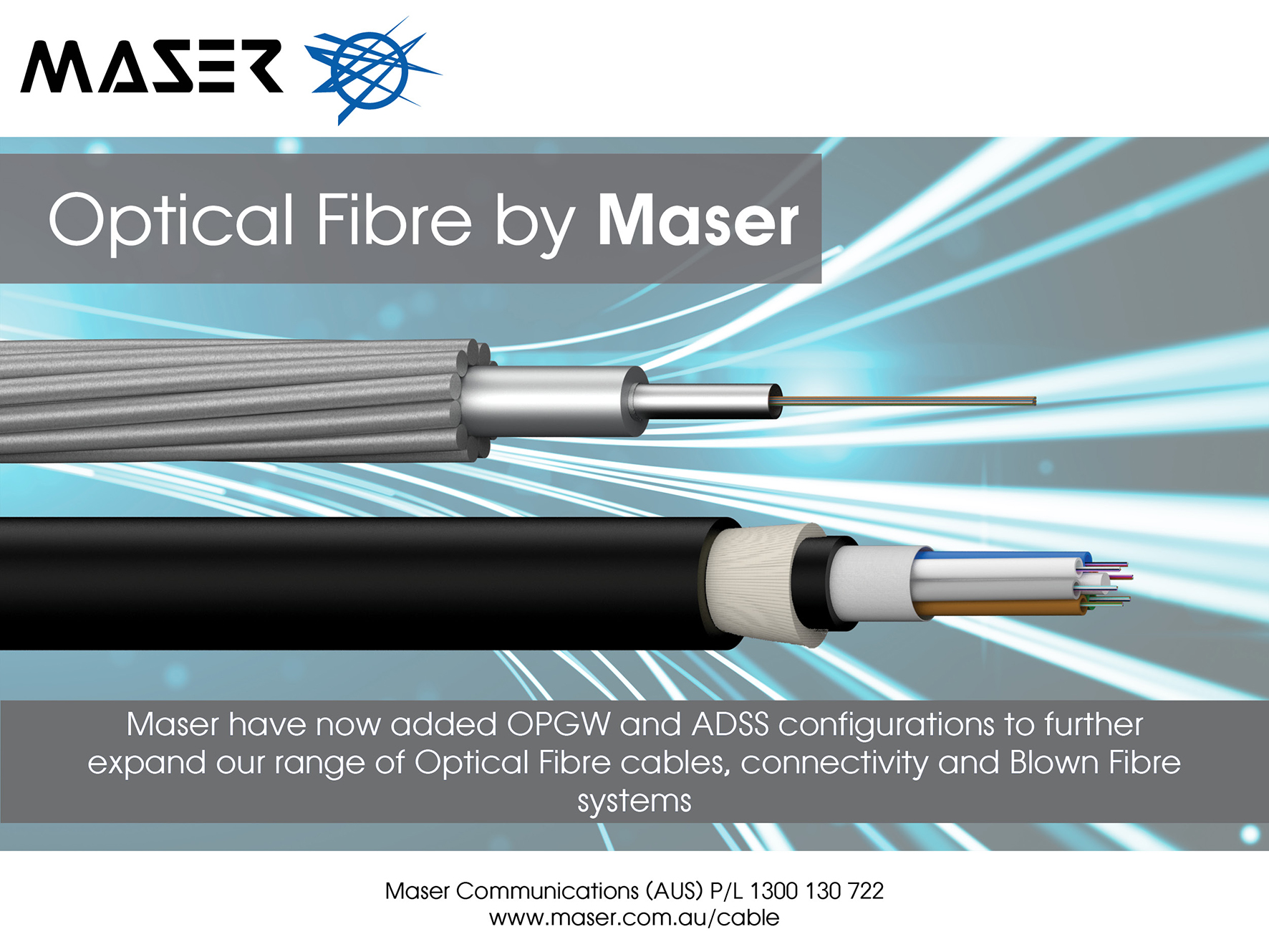OPGW and ADSS Fibre now available – Award wining products supplied by Maser