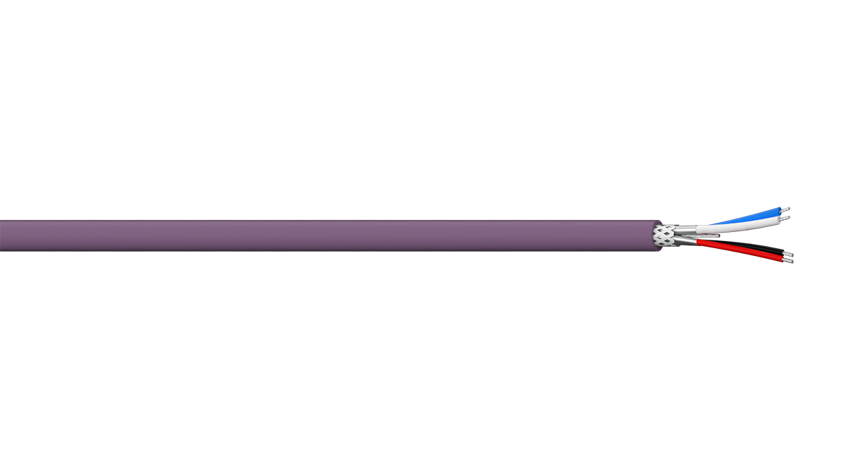 2PR 22AWG + 2PR 24AWG Individual Screen + Overall Braid Thin Devicenet Cable - Violet LSZH