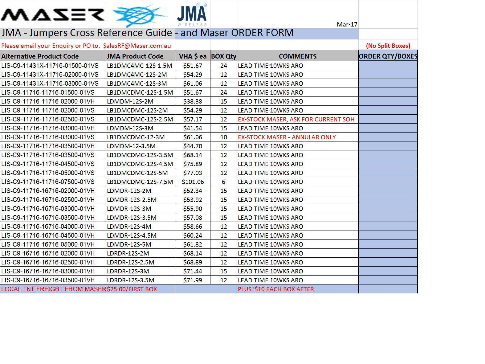 Order your JMA Jumpers from Maser today!
